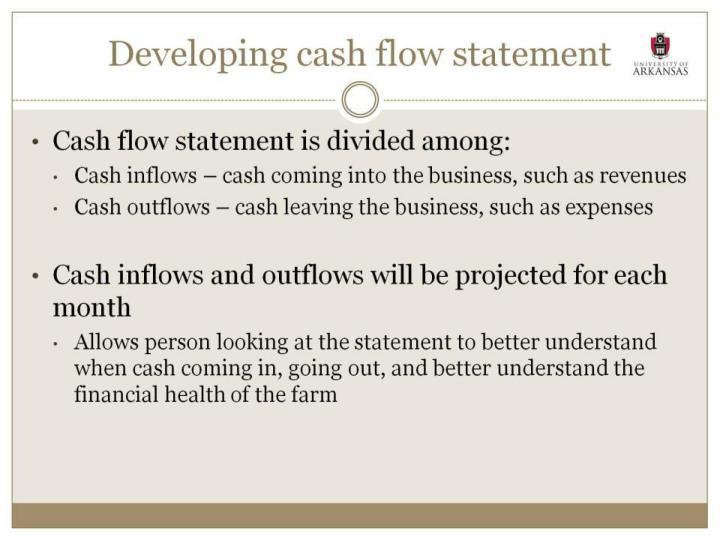 Developing cash flow statement