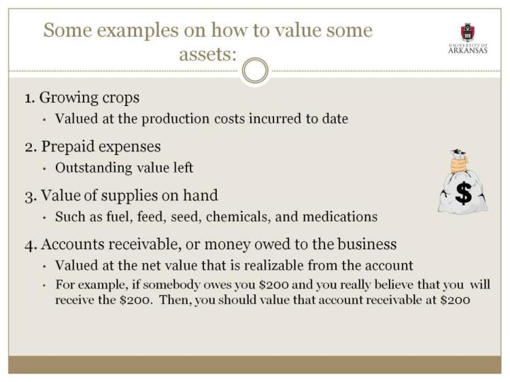 Some examples on how to value some assets: