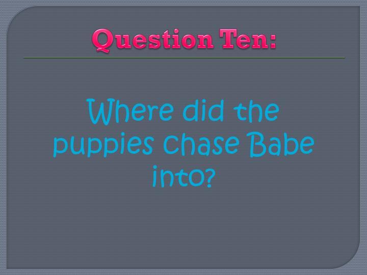 Question Ten: