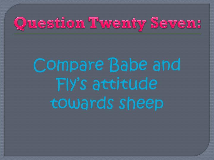Question Twenty Seven:
