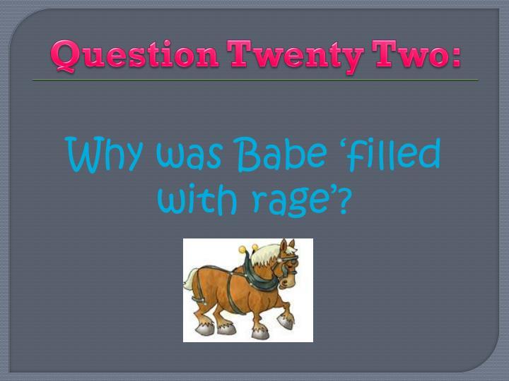 Question Twenty Two: