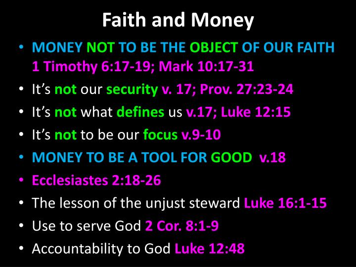 Faith and money1