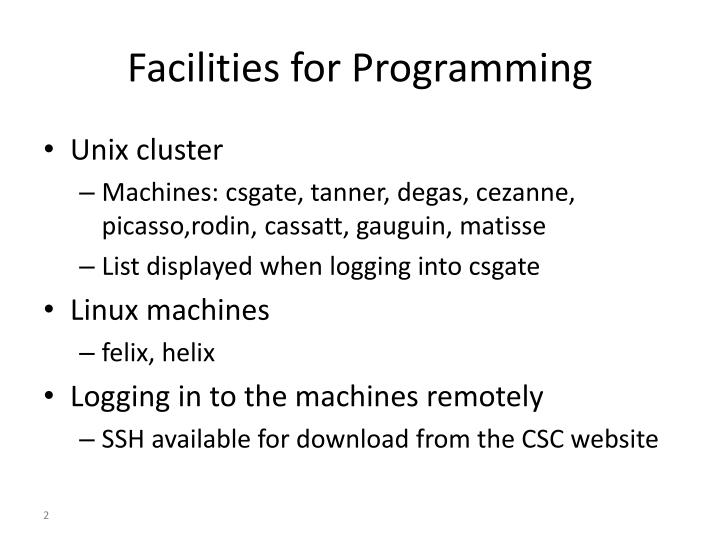 Facilities for Programming