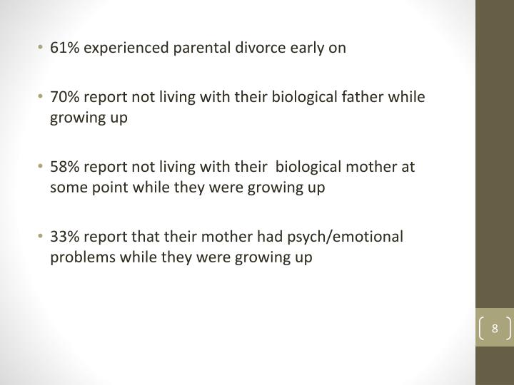 61% experienced parental divorce early on