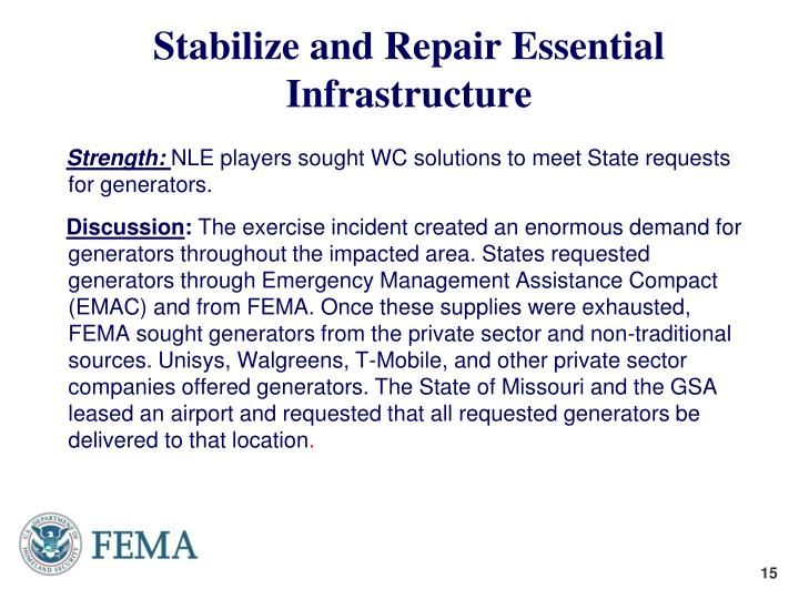 Stabilize and Repair Essential Infrastructure