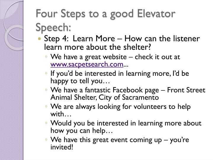 Four Steps to a good Elevator Speech: