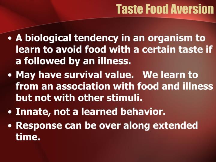 Taste Food Aversion