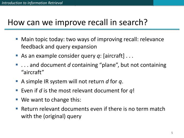 How can we improve recall in search?