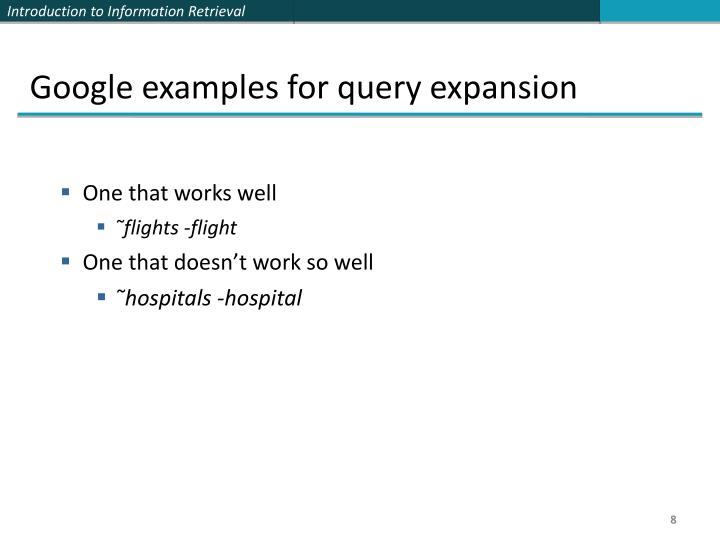 Google examples for query expansion