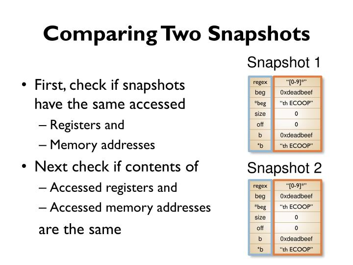 Comparing Two Snapshots