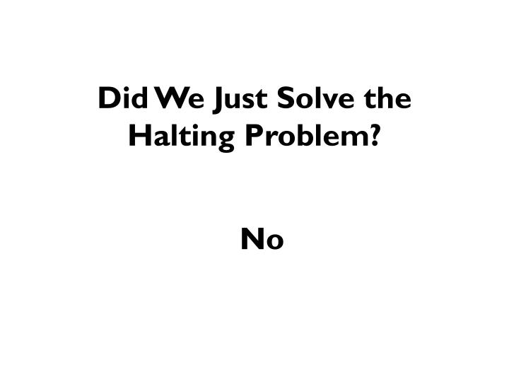 Did We Just Solve