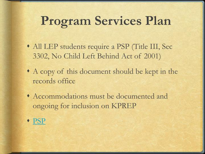 Program Services Plan