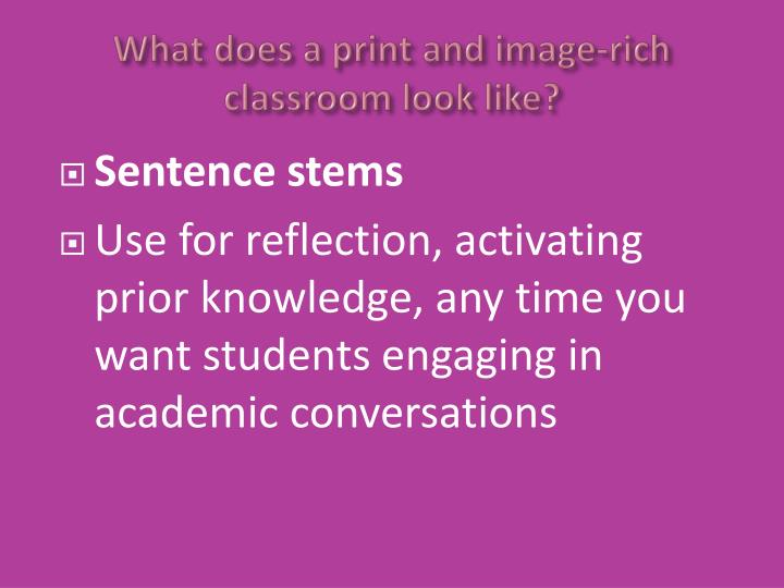 What does a print and image-rich classroom look like?