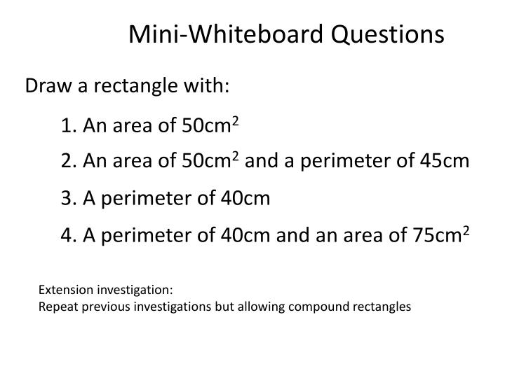 Mini-Whiteboard Questions