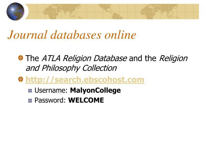 Journal databases online