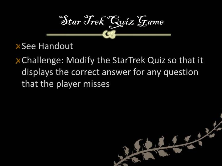 Star Trek Quiz Game