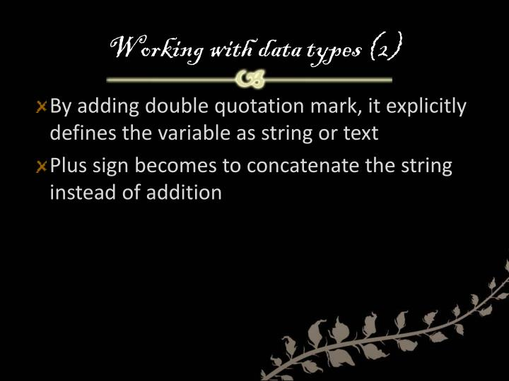 Working with data types (2)