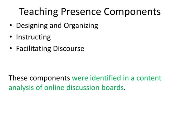 Teaching Presence Components