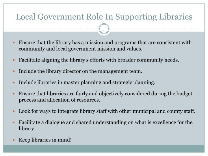 Local Government Role In Supporting Libraries