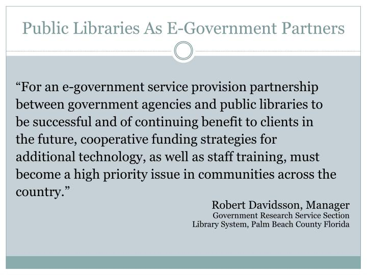 Public Libraries As E-Government Partners