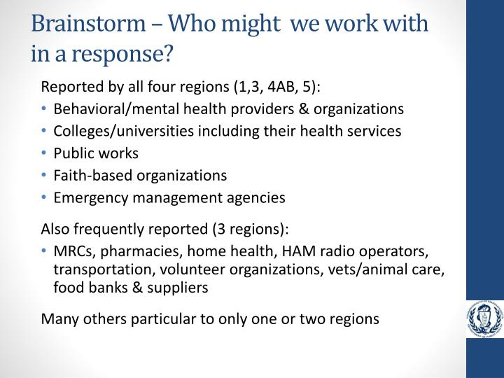 Brainstorm – Who might  we work with in a response?