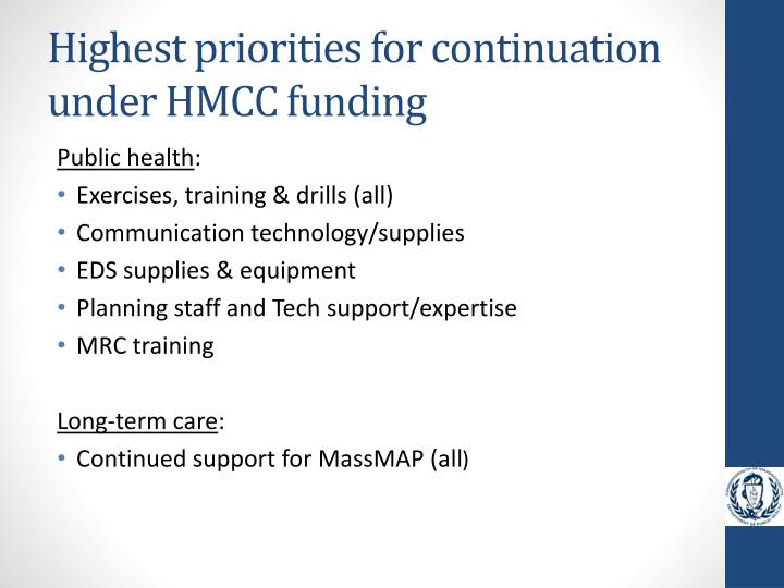 Highest priorities for continuation under HMCC funding