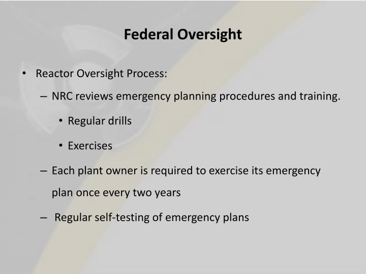 Federal Oversight