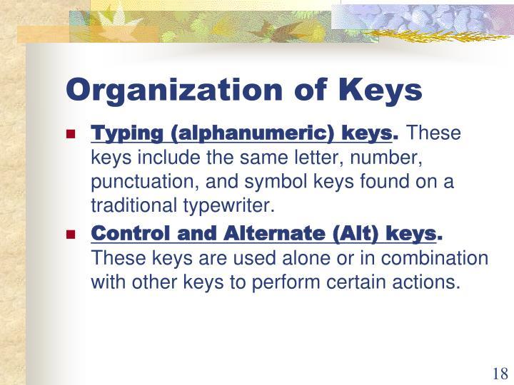 Organization of Keys