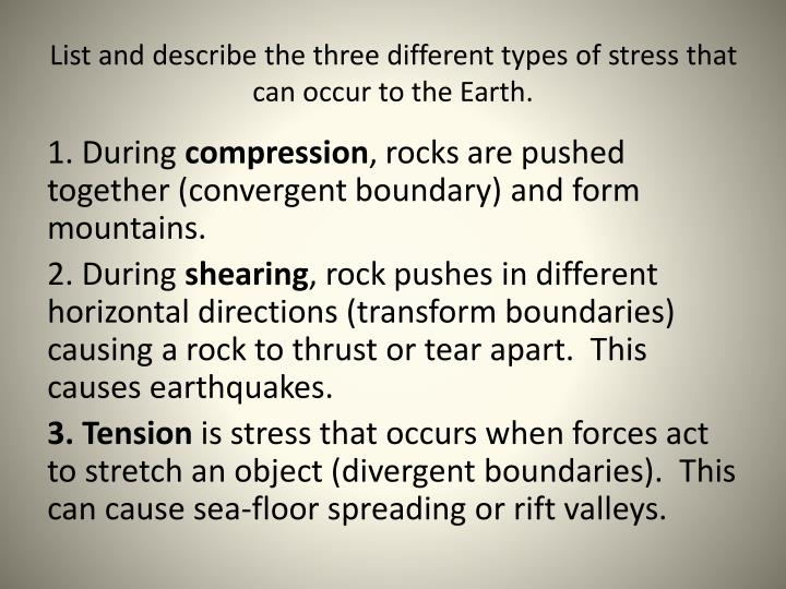 List and describe the three different types of stress that can occur to the Earth.