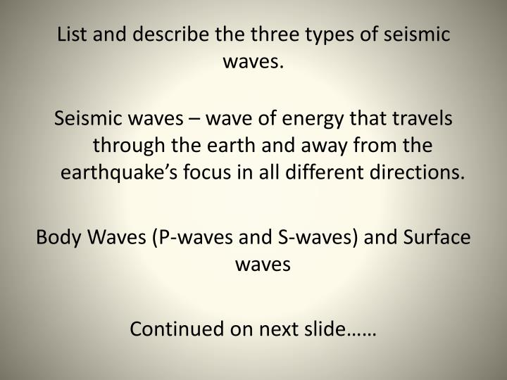 List and describe the three types of seismic waves.