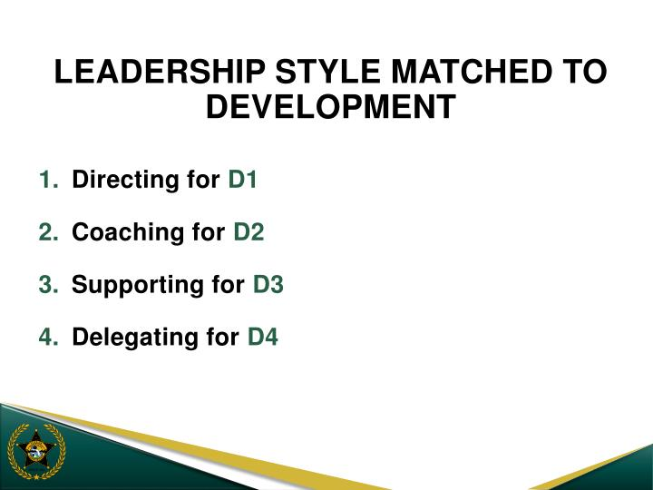 LEADERSHIP STYLE MATCHED TO DEVELOPMENT
