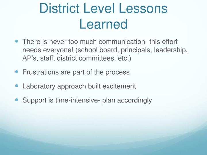 District Level Lessons Learned