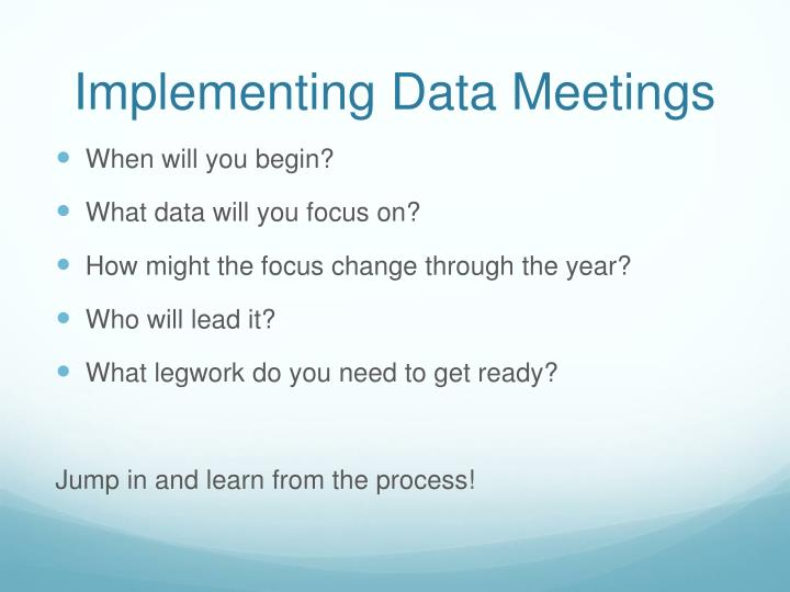 Implementing Data Meetings