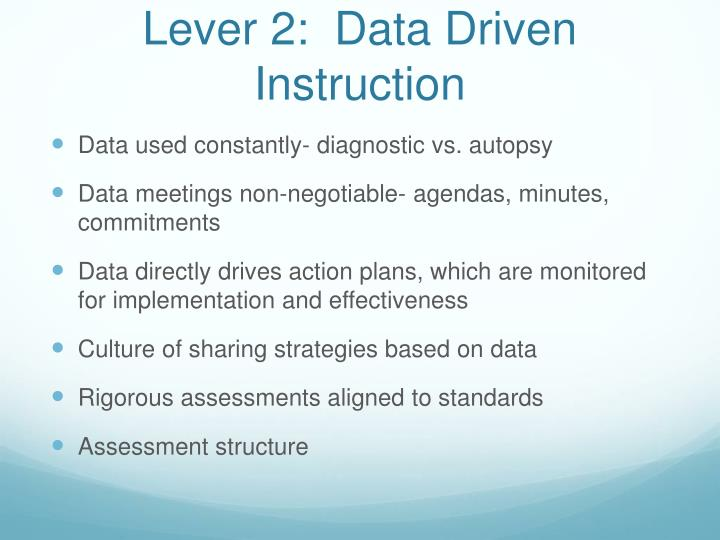 Lever 2:  Data Driven Instruction