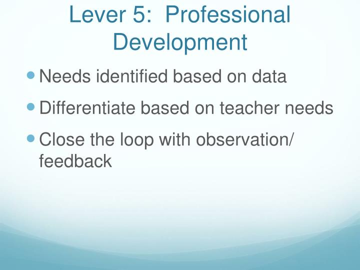 Lever 5:  Professional Development