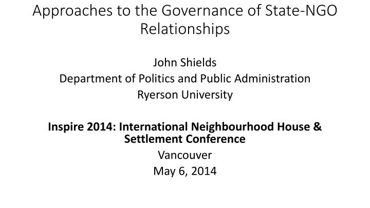 Approaches to the Governance of State-NGO Relationships