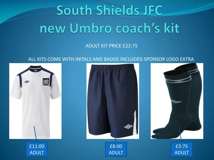 South shields jfc new umbro coach s kit
