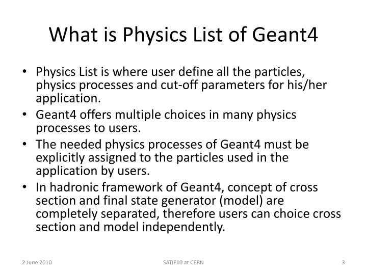 What is physics list of geant4