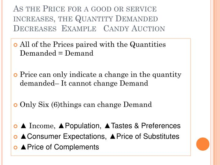 As the Price for a good or service increases, the Quantity Demanded Decreases  Example   Candy Auction
