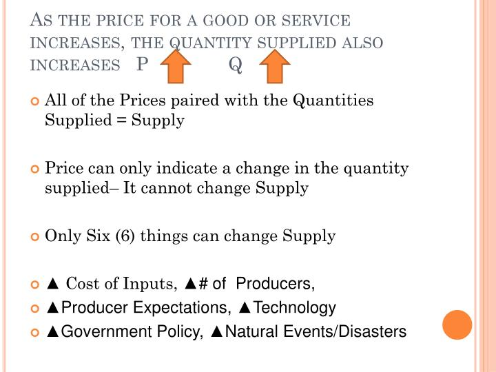 As the price for a good or service increases, the quantity supplied also increases   PQ