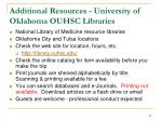 additional resources university of oklahoma ouhsc libraries