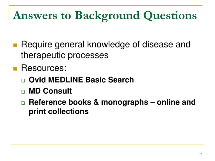 Answers to Background Questions