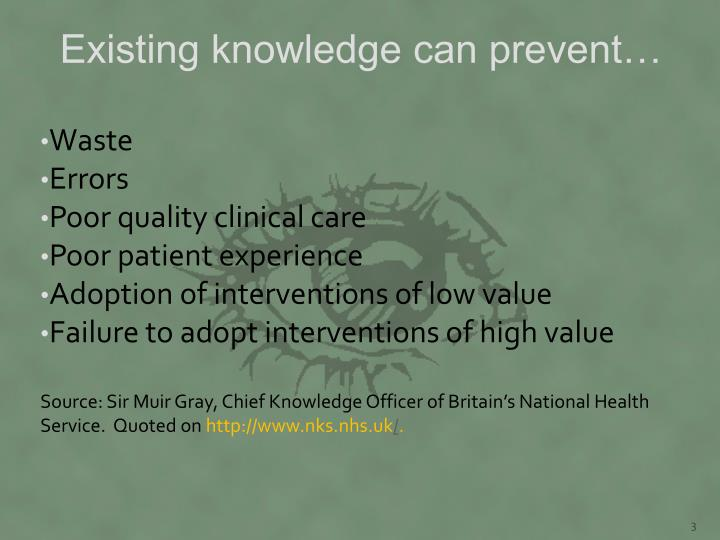Existing knowledge can prevent…