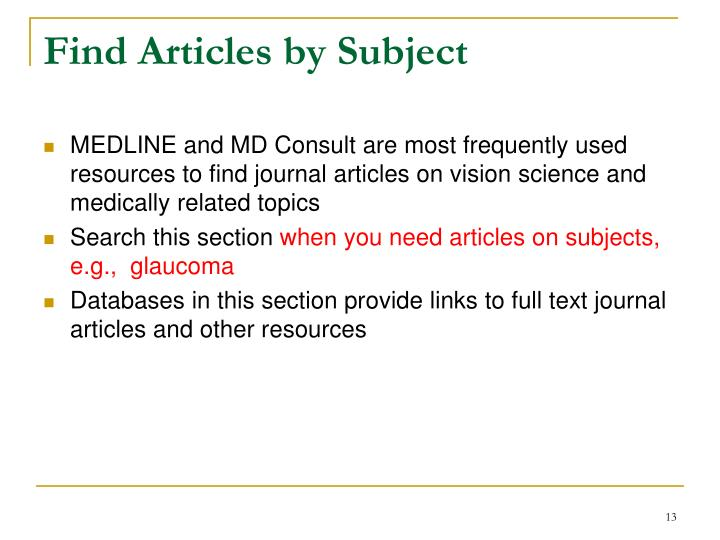 Find Articles by Subject