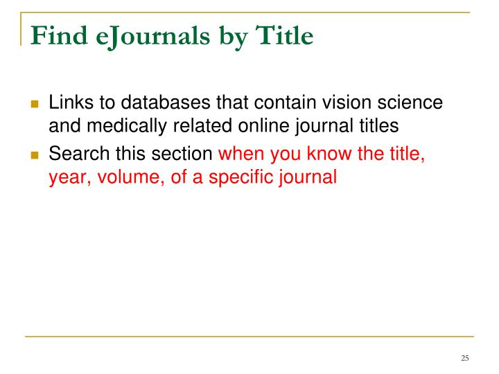 Find eJournals by Title
