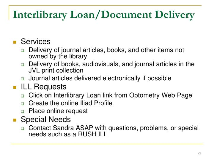Interlibrary Loan/Document Delivery