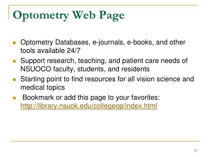 Optometry Web Page