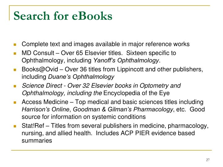 Search for eBooks
