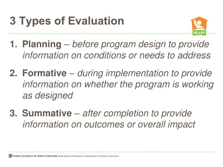 3 Types of Evaluation