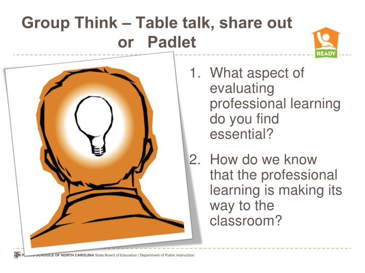 Group Think – Table talk, share out or